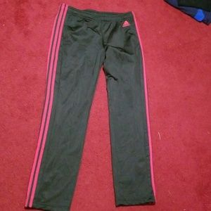 Pink and gray Addias track pants